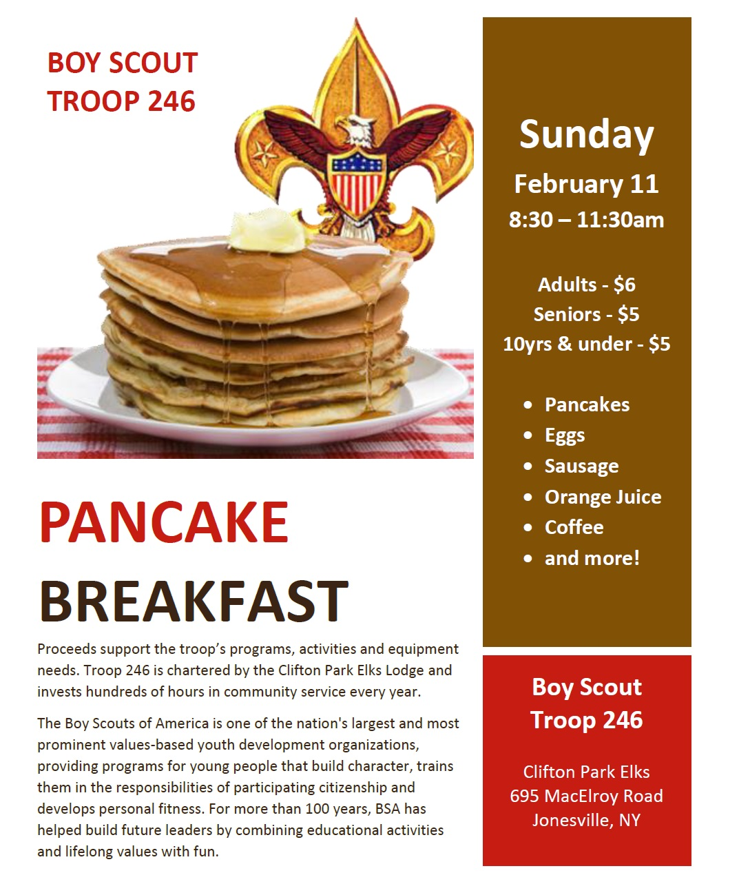 Boy Scout Troop 246 Pancake Breakfast
